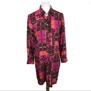 Trina Turk Silk Shirt Dress Geometric Print Size 2